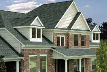 House with roof and brick or siding walls